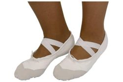Cotton-leather ballet shoes for children size 36-45 white