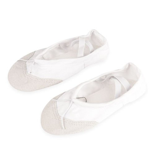 Cotton-leather ballet shoes for children size white
