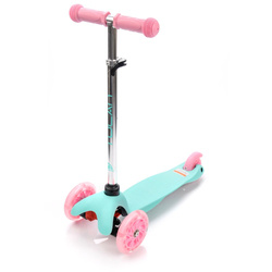 METEOR SCOOTER THREE-WHEEL WITH LED WHEELS TUCAN mint-pink