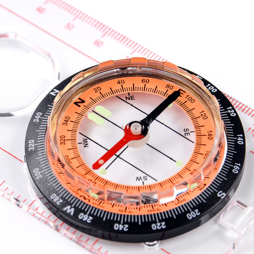 METEOR COMPASS WITH RULER (orange disc)